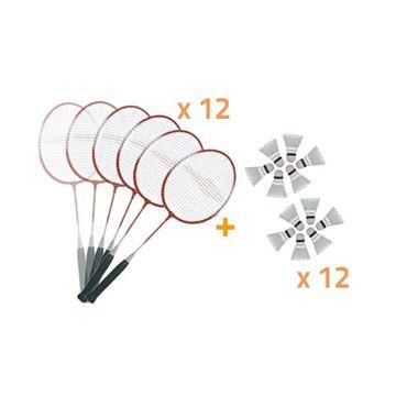 Afbeelding van Set: 12 Badminton Rackets JRB800 + 6 pluimpjes
